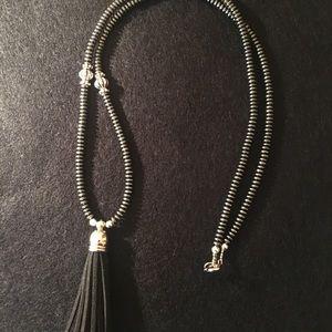 Black Beads with Black Suede Tassel Pendant